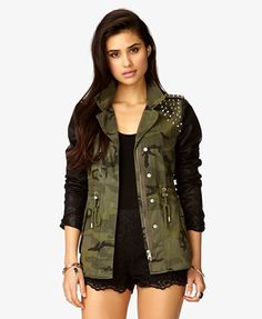 Faux Leather Spiked Camo Jacket from Forever 21 - I just ordered this jacket online, and I can't wait 'til it finally comes in!