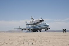 NNASA's Shuttle Carrier Aircraft with the space shuttle Endeavour securely mounted on top touches down at Edwards Air Force Base after third leg of its four-segment final ferry flight from the Kennedy Space Center in Florida to Los Angeles International Airport on Sept. 20, 2012. The landing was preceded by a spectacular low-level flyby of NASA Dryden Flight Research Center and the Edwards flight line flown by NASA Dryden pilot Bill Brockett. (NASA / Jim Ross) ›