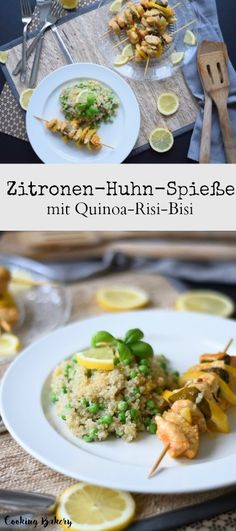 Zitronen-Huhn mit Quinoa-Risi-Bisi, ein Rezept, dass einfach immer gelingt! Low Carb,  COOKING BAKERY Quinoa, Good Food, Low Carb, Meat, Chicken, Cooking, Ethnic Recipes, Simple, Cooking Recipes