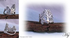 Tree and bird ring made from Victorian tea spoon.    Hairy Growler Jewellery.