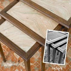 "Table Refresh  use clear craft glue to adhere marbleized paper to backs of the glass tops. before old ugly wood, after new ""marble"". . ."