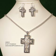 Silver Tone Crosses Set, Pendant Cross with Chain, Cross Earrings $8.95 Cross Earrings, Crosses, Cross Pendant, Chain, Detail, Silver, Jewelry, Jewlery, Jewerly