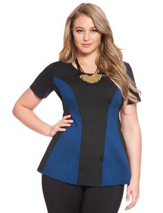 Long Flare Colorblock Top | Women's Plus Size Tops | ELOQUII.COM