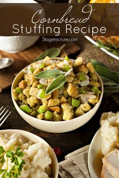 Thanksgiving Side Dish: Cornbread Dressing Recipe. Whether you call it dressing or stuffing, we all love this delicious side for the holidays!  #sides #holidays #Thanksgiving #recipe