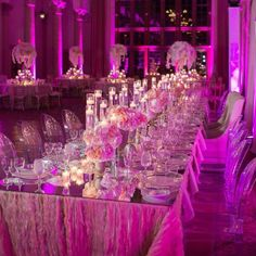 Love the gorgeous #pink #uplighting and beautiful #centerpieces at this #wedding #reception! #diy #inspiration #ideas #rentmywedding