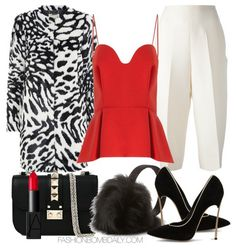 What to Wear for Valentine's Day Michael Kors Animal Print Faux Fur Coat Chalayan Red Crepe Bustier Top Valentino Tailored Culottes Casadei Blade Pump Valentino Rockstud Lock Leather Clutch Bag