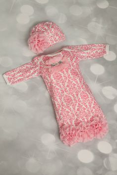 Newborn Pink Damask Layette Cotton Baby Gown with Pink Chiffon Flowers and Rhinestones. $32.00, via Etsy.