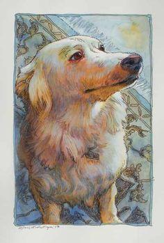 """Dugan dog"" acrylic and pen 6""x9"""