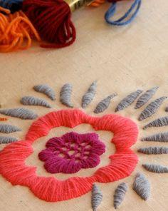 satin stitch design by Anna Maria Horner. Embroidery Designs, Crewel Embroidery Kits, Embroidery Needles, Cross Stitch Embroidery, Embroidery Books, Embroidery Alphabet, Flower Embroidery, Paisley Embroidery, Beginner Embroidery