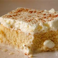 ♔ Tres Leches (Milk Cake) ~ This cake is made with three layers: Cake, filling, and topping. There are 4 types of milk in the filling and topping (whole milk, condensed milk, evaporated milk, and heavy cream). This is an excellent cake for milk lovers!