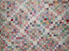 The-BEST-EVER-Vintage-1930-Feedsack-Mosaic-Block-QUILT-So-Pretty-74x67-034