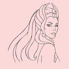 She-Ra Princess of Power (Black Line Art) by DGArt