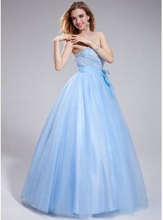 Ball-Gown Sweetheart Floor-Length Organza Tulle Prom Dress With Beading Sequins (018025305) - JJsHouse