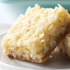 Buttery Coconut Bars Recipe -My coconut bars are an American version of a Filipino coconut cake called bibingka. These are a crispier, sweeter take on the Christmas tradition I grew up with. —Denise Nyland, Panama City, FL Coconut Desserts, Brownie Desserts, Just Desserts, Delicious Desserts, Dessert Recipes, Bar Recipes, Coconut Cheesecake, Coconut Cookies, Condensed Milk Desserts