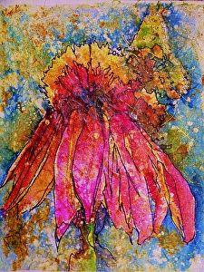 batik coneflower by Kathleen Murray Watercolor ~ 20 x 16