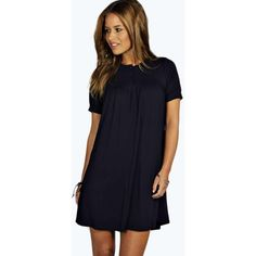 Boohoo Petite Lizzie Button Detail Swing Babydoll Dress (430 MXN) ❤ liked on Polyvore featuring dresses, navy, blue dress, bohemian maxi dress, polka dot maxi dress, boho dress and petite maxi dress