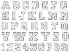 Alphabet Letter Templates, Alphabet Stencils, Letter Tracing, Alphabet Letters, Stencil Lettering, Free Sports Fonts, Jersey Font, Varsity Letter, Word Art Design
