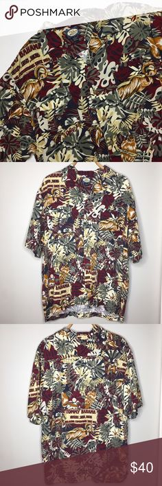 "Tommy Bahama Men's Short Sleeve Button Down Shirt Like new Tommy Bahama short sleeve button down shirt. This shirt features a leaf print with birds. It also has signs on the shirt that read ""Tommy Bahama Outfitter, Safaris, Martinis relaxing expeditions since 1492"". The colors of the shirt are maroon, yellow, cream, and a muted green shade. Size medium. The extra button as still attached to the inside tag. Tommy Bahama Shirts Casual Button Down Shirts"