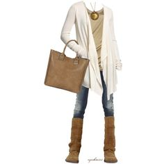 Casual Outfits | Great Cardigan~Comfy Neutrals | Fashionista Trends