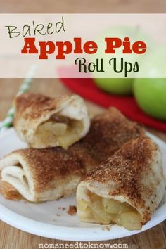 These delicious baked apple pie roll ups are just bursting with warm gooey goodness! Serve them for breakfast or dessert!
