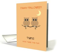 For Twins card: Halloween Twins Cute Owls on Tree Branch with Moon Greeting Card by Pamela Jorgensen