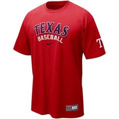 Nike Texas Rangers Red MLB Practice T-shirt #Fanatics