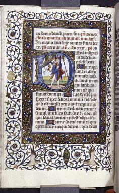 "Image ID: 427588 Historiated initial of the Fool and a devil for the psalm, ""Dixit insipiens in corde suo. Illuminated Letters, Illuminated Manuscript, Calligraphy Art, Caligraphy, Medieval Manuscript, Typography, Lettering, The Fool, Psalms"