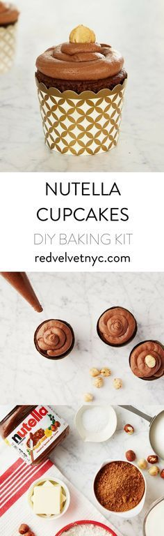 Best Nutella Cupcakes- We used an Italian pantry staple to create this rich hazelnut cupcake recipe. Dark chocolate cake is topped with Nutella and a roasted hazelnut.