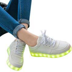 Modus Unisex-LED-Licht Lace Up Luminous Schuhe Sportturnschuhfreizeitschuhe USB-Lade-