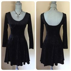 Vintage Gothic crushed velvet dress❤️ Vintage Gothic crushed black velvet dress! ❤️this piece! Underwire support. Stretchy. Great condition! No size, I'd say a small or a small medium 2-6. Price Firm ❌offers❌trades Vintage Dresses