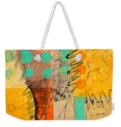 """Orange Splatter 2 Weekender Tote Bag (24"""" x 16"""") by Nancy Merkle.  The tote bag is machine washable and includes cotton rope handle for easy carrying on your shoulder.  All totes are available for worldwide shipping and include a money-back guarantee."""