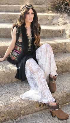 White Boho's Inspired Lace Sheer Maxi Dress by Madame De Rosa
