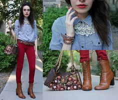 Striped Blue/White Blouse, Pac Sun Maroon Stretch Jeans, Forever 21 Lace And Jeweled Collar Necklace, Studded Belt Bracelet, Forever 21 Brown Victorian Style Boots, Hand Made Purse