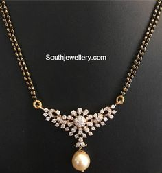 Jewelry OFF! Black Beads Mangalsutra Chain Models with diamond pendants Diamond Mangalsutra, Gold Mangalsutra Designs, Gold Earrings Designs, Gold Jewellery Design, Vintage Jewellery, Antique Jewelry, Bridal Jewelry, Beaded Jewelry, Bead Jewellery