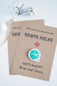 """Gastgeschenke - Erste Hilfe-Karte für den """"Morgen danach"""" - ein Designerstück von FlitterBOOK bei DaWanda"""