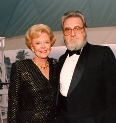 The late Joan Kroc and former U.S. Surgeon General C. Everett Koop pictured at the 1990 San Diego Hospice Humanitarian of the Year Award Dinner.