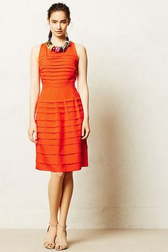 solid orange dress + neutral heels + bold necklace from Anthropologie, featuring Tangelo Dress