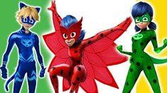 PJ Masks transforms into Miraculous Ladybug   PJ Masks Finger Family Nursery Rhymes - YouTube