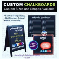 Imprinted Chalkboards - Custom Shapes & Sizes  Order Today http://ift.tt/1TqGfPk  text: PROMOSWORK  to: 95577  #promos #spring #chalkboard #chalk #resturant #bar #game #specials #quoteoftheday #sidewalk #chalkart #drinks #meals #sandwich #board #realestate #listing #signs #visual #visualart  Opt-in Terms: Summary Terms & Conditions: Our mobile text messages are intended for subscribers over the age of 18 and are delivered via USA short code 95577. You may receive up to 10 message(s) per…