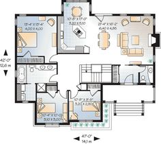 images about Home Floor Plans on Pinterest   Floor plans     sq ft  First Floor Plan of Bungalow Country Craftsman House Plan