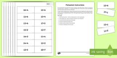 Pelmanism Addition Facts 11 to 20 using 1 to 10 Game - number bonds to 20, memory, addition, quick recall,