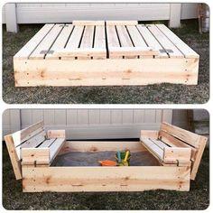 DIY sandbox with benches