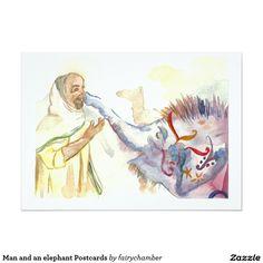 Man and an elephant Postcards 13 Cm X 18 Cm Invitation Card