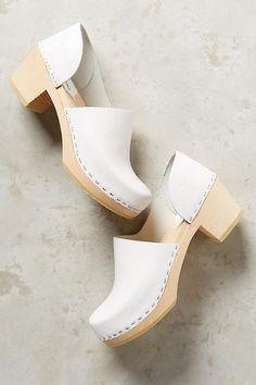 Anthropologie SANDGRENS BRETT D'ORSAY CLOGS White Leather Wooden Slip On Shoe 10 #Sandgrens #Clogs #Any