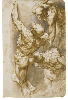 beardbriarandrose:  Peter Paul Rubens (Flemish, 1577-1640), Anatomical studies of three male nudes. Pen and brown ink and wash and black cha...