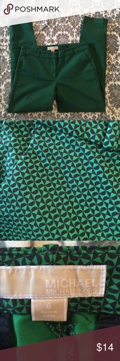 MichaelKors pants EUC. Cute patterned pants. I'm 99% sure they are green and dark navy. It's possible they are black. I wore a navy top so hopefully they are. Inseam is 28 1/2. Waist 31 1/2 MICHAEL Michael Kors Pants Straight Leg