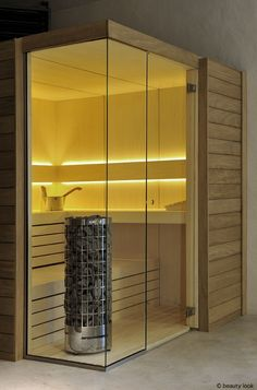 Sauna in Espen Fineer Small House Design, Bathroom Design Small, Bath Design, Home Spa Room, Spa Rooms, Sauna Steam Room, Sauna Room, Saunas, Portable Sauna
