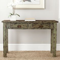 @Overstock.com - Safavieh Carl Antique Green Console Table - Did you find it at Portabella Road, or was it the Paris flea market? Bathed in a romantic antique green finish on its solid fir wood, the Carl console Table evokes memories of old European markets where vintage treasures  http://www.overstock.com/Home-Garden/Safavieh-Carl-Antique-Green-Console-Table/7827707/product.html?CID=214117 $211.49