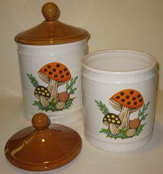 Vintage Mushroom Canisters