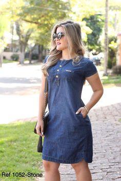 Moda Plus Size, Chiffon Tops, Victoria, Denim, Dresses, Glamour, Fashion, Women's Casual Dresses, Short Casual Dresses